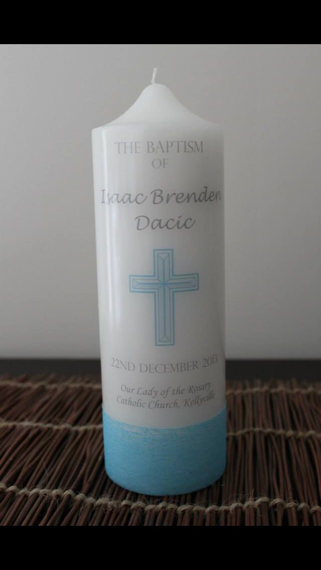 Baptism candle with printed cross.   Visit http://facebook.com/moderndesigns1 to see more products in my albums