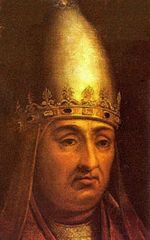 Boniface VIII  Papacy began24 December 1294  Papacy ended11 October 1303  PredecessorCelestine V  SuccessorBenedict XI  Orders  Consecration23 January 1295  Created Cardinal12 April 1281  Personal details  Birth nameBenedetto Gaetani  Bornc. 1235  Anagni, Papal States, Holy Roman Empire  Died11 October 1303  Rome, Papal States  Coat of arms