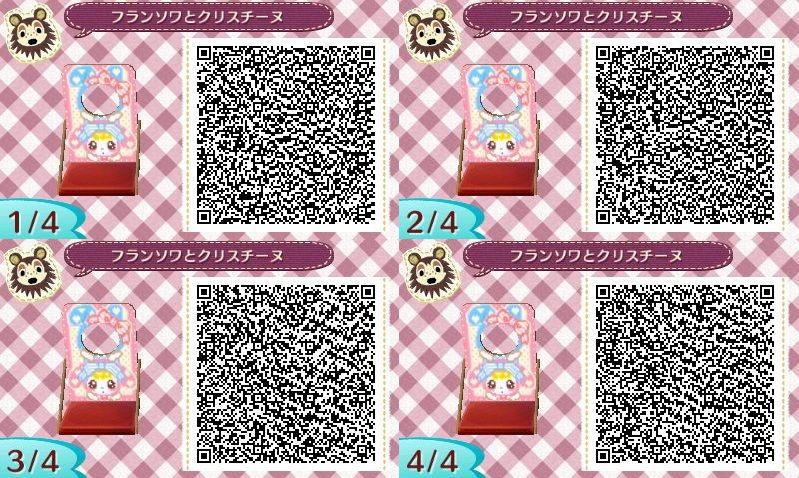 Bubblegum Sisters Kawai Pink and Blue Face board Animal Crossing New Leaf  Qr Code