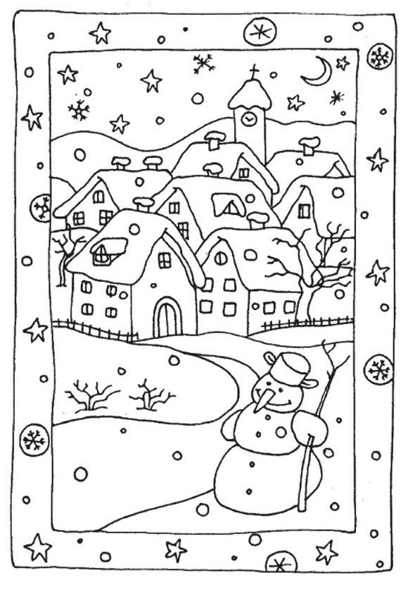 Free Winter Coloring Pages Snowy Houses Coloriage Hiver Pages De Coloriage Chretien Coloriage
