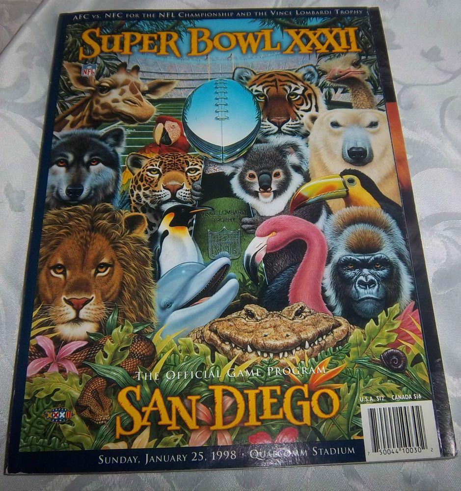 Original Super Bowl XXXII (Denver Broncos vs. Green Bay Packers) Game Program #DenverBroncosGreenBayPackers