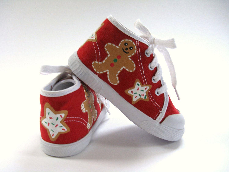 Christmas Sneakers.Christmas Shoes Gingerbread Sugar Cookies Red Hi Top