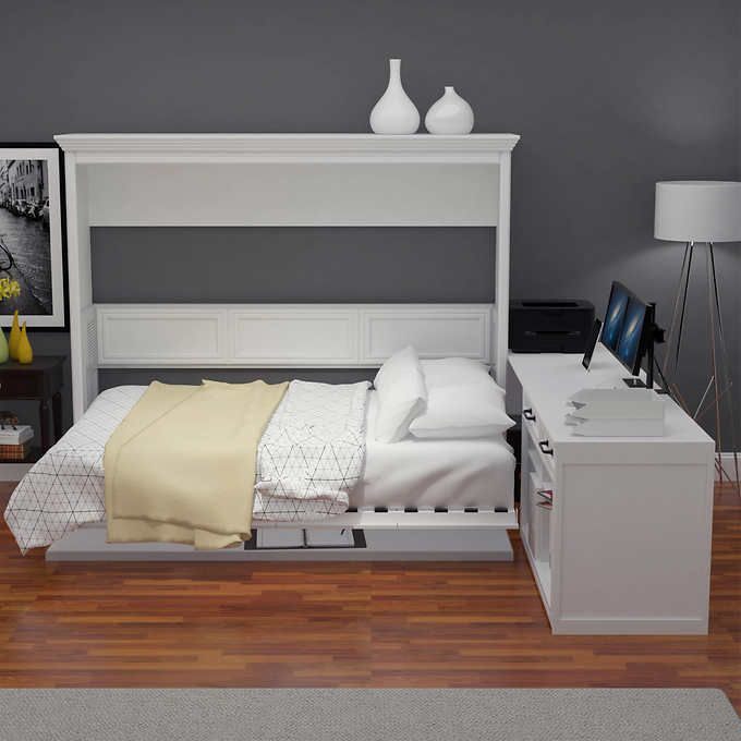 Best Melbourne Office Pro Queen Wall Bed With Desk White 400 x 300
