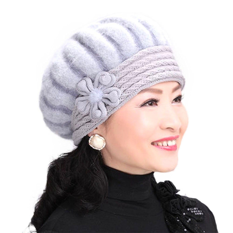 Elderly Female Winter Rabbit Fur Knitted Wool Hat Lady Mom Warm Beret Cap Light Gray C6189g7wkmw Hats Caps Womens Hats Caps Berets Hats Caps