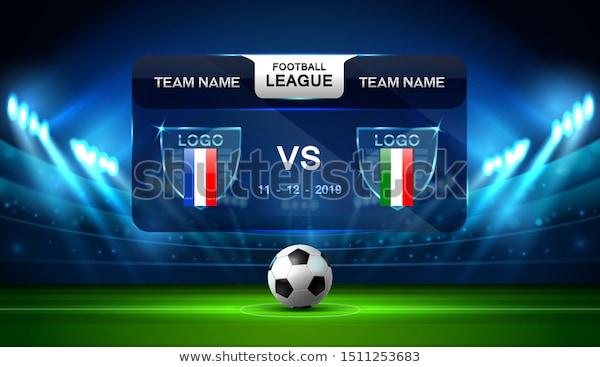 Soccer Football Stadium Spotlight And Scoreboard Background With Glitter Light Vector Illustration Football Stadiums Football Scoreboard Football Team Names