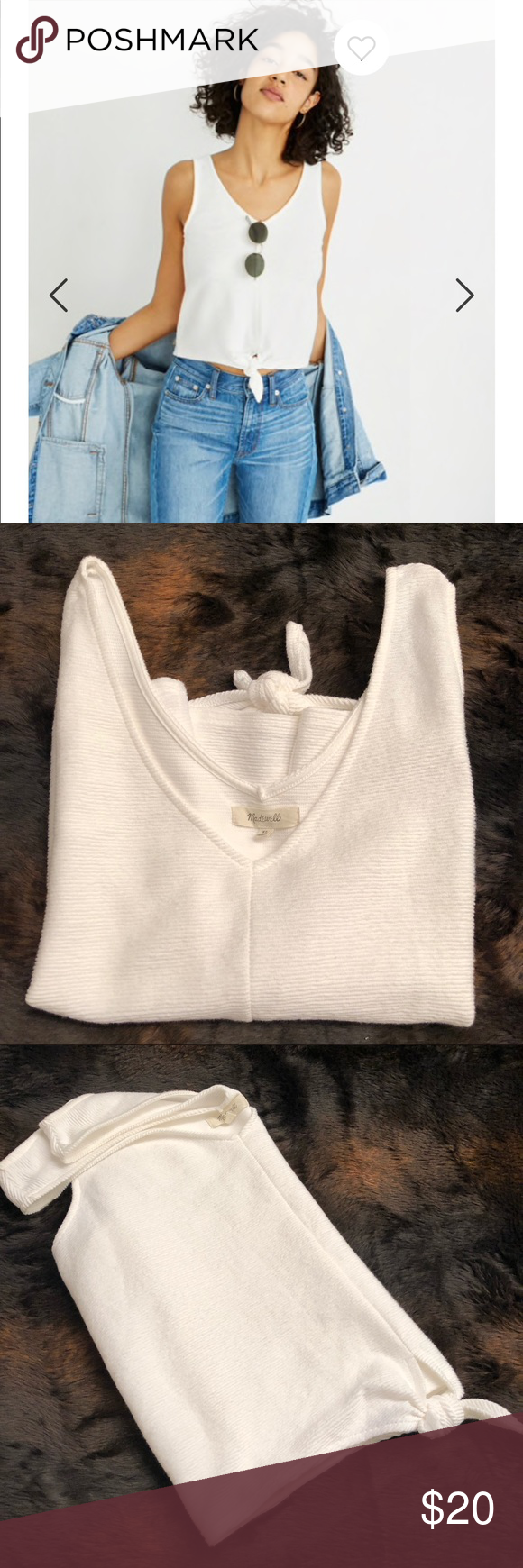 d3bb356586f Madewell Texture & Thread Tie Front Tank Top This top is perfect! It is  soft against the skin and solid white! It is composed of Cotton and easy to  pair!