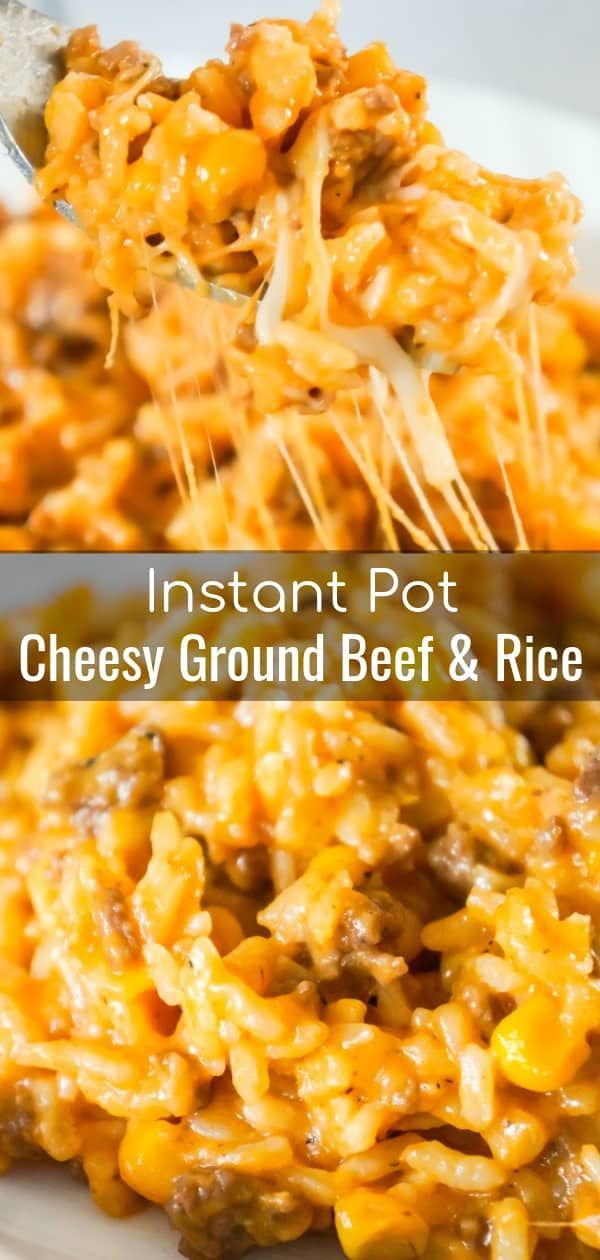 Instant Pot Cheesy Ground Beef and Rice is an easy dinner recipe perfect for weeknights. This Instant Pot rice dish is loaded with ground beef, corn, mozzarella and cheddar cheese. #easydinners
