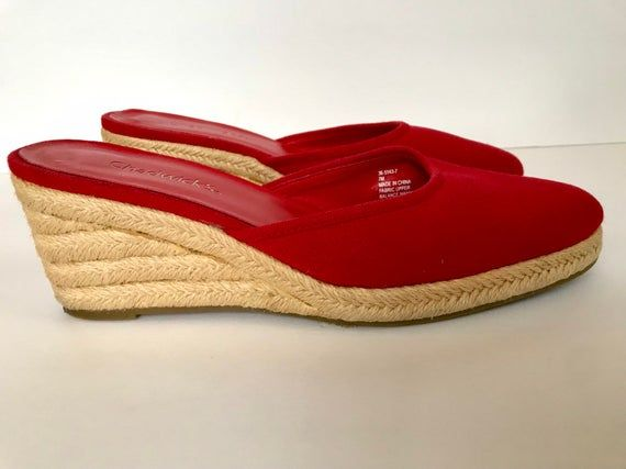 52dacf8168a 80s Chadwicks Red Canvas Wedge Espadrilles, Summer Fabric Mules ...