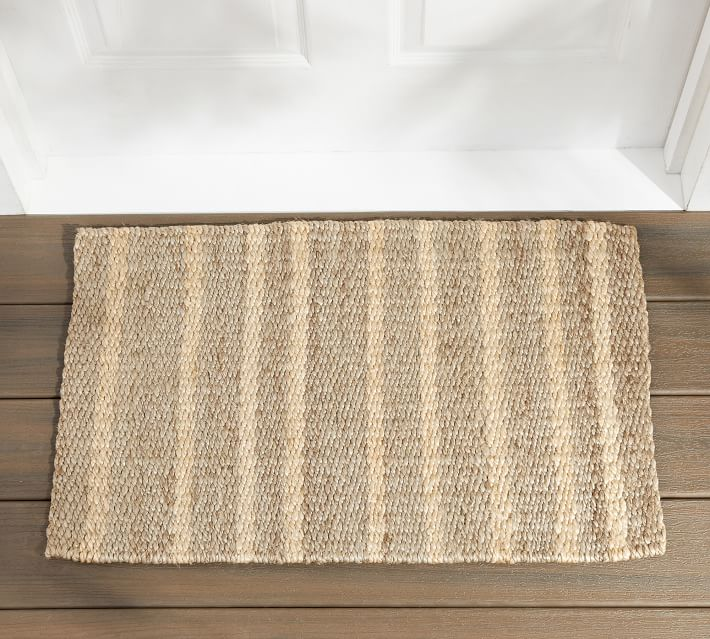 Asha Vertical Striped Jute Doormat In 2020 Jute Doormat Door Mat Front Door Accessories