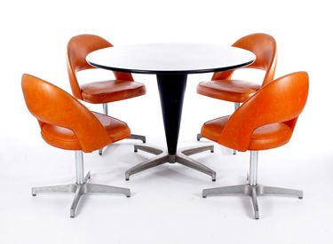 Retro Atomic Dining Set Description: 1960u0027s Burnt Orange Saarinen Style  With Coned Base ...
