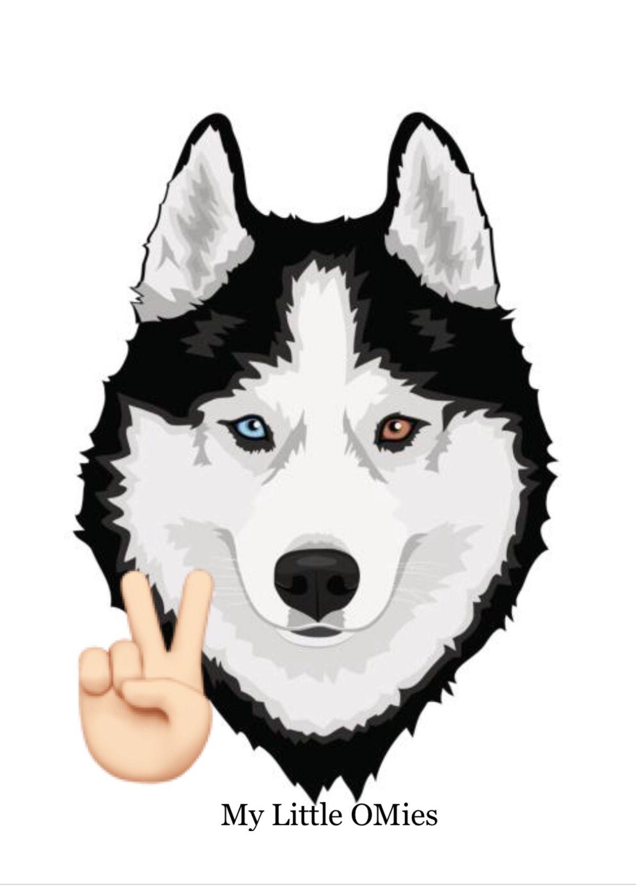 Husky With Peace Fingers Fabric Wallpaper Siberian Husky Husky