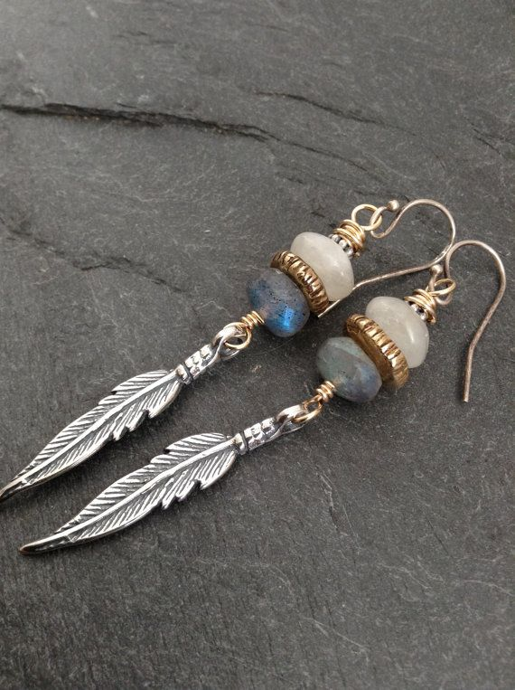 Feather long dangle earrings labradorite and by Mollymoojewels