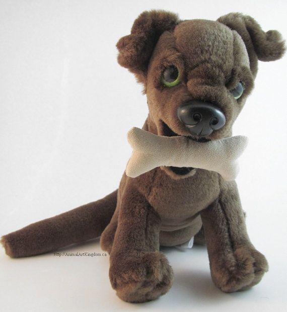 Sitting Dog Plush Stuffed Animal Toy Magnetic Bone In Mouth Three