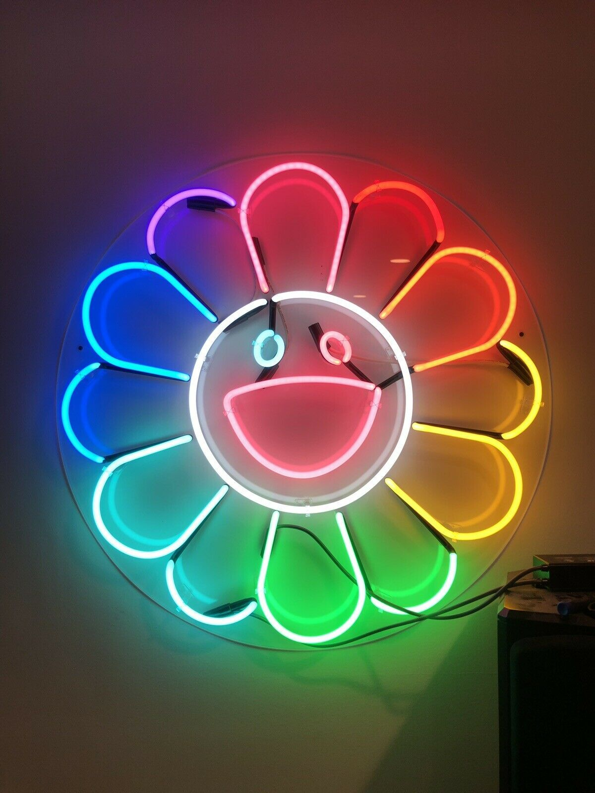 "Huge 36"" TAKASHI MURAKAMI Style Flower Neon Light Wall"