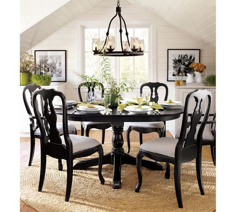 This Is My Favorite Idea For Your Kitchen Chairs Marjie Reinig Queen Anne Upholstered Chai Black Dining Room Pottery Barn Dining Room Dining Room Furniture