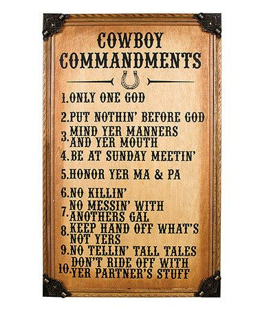 Look what I found on #zulily! \'Cowboy Commandments\' Wall Art ...
