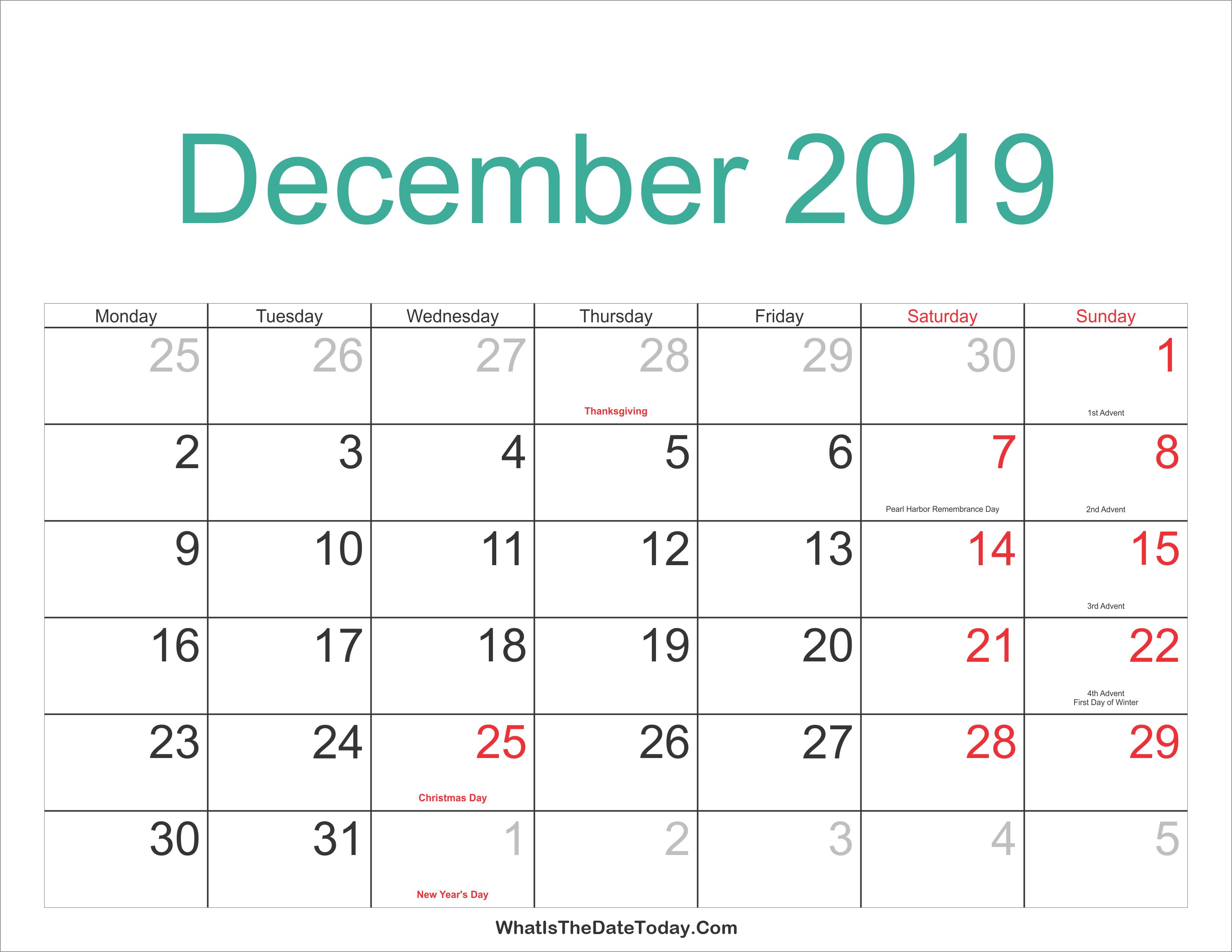 December 2019 Calendar With Holidays Dec December December2019 December2019calendar 2019cale Holiday Calendar Printable February Calendar January Calendar