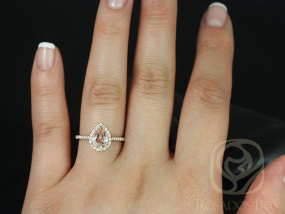 8d353300e5832 Tabitha 8x6mm 14kt Rose Gold Morganite Diamonds Dainty Pave Pear ...