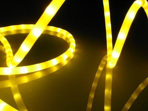50Ft Rope Lights Golden Yellow LED Rope Light Kit 10 LED Spacing