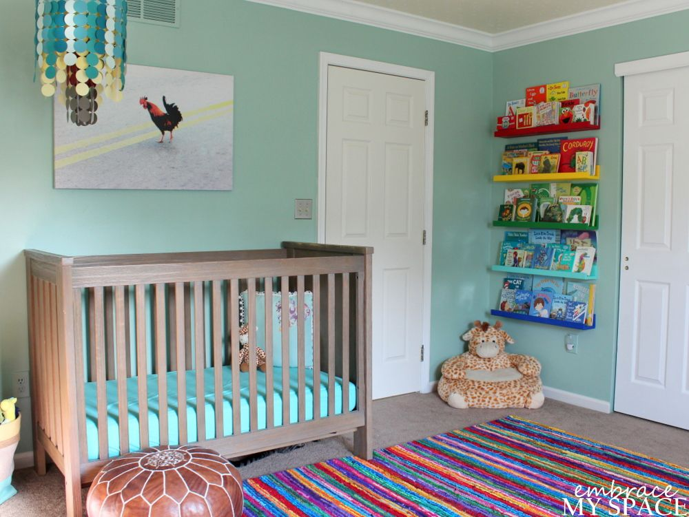 Adorable nursery from Sara at Embrace My Space! Mint Green with rainbow ledges grounded with white & warm brown..love it