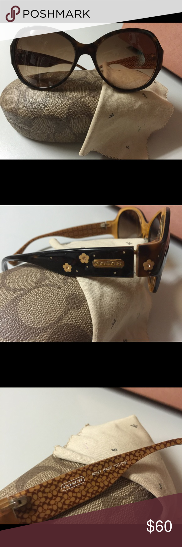 Coach Posey sunglasses Coach Posey sunglasses. The glasses are in perfect condition with no scratches but the case leaves alot to be desired. It will still protect your sunglasses but please note the prize here is the glasses and not the case! Coach Accessories Glasses