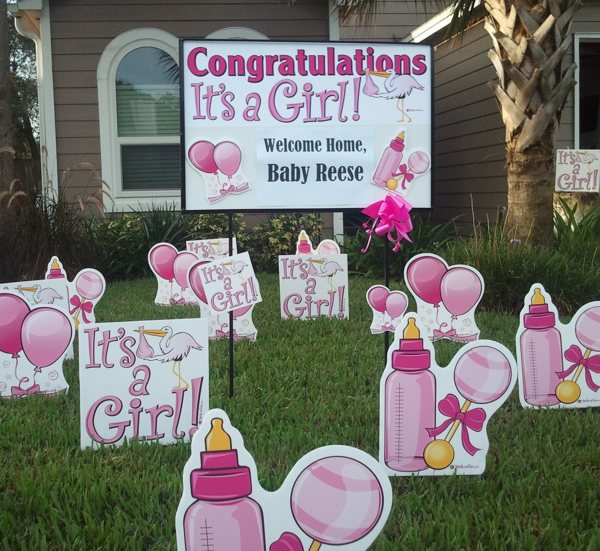 Baby girl welcome home baby idea baby announcement for Welcome home decorations