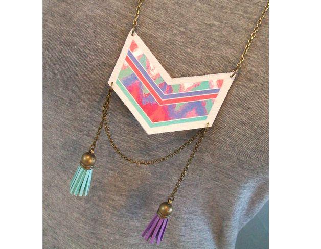 Multi Chain Necklaces – Collier sautoir chevron navajo cuir mauve vert ros – a unique product by chiaradeco on DaWanda