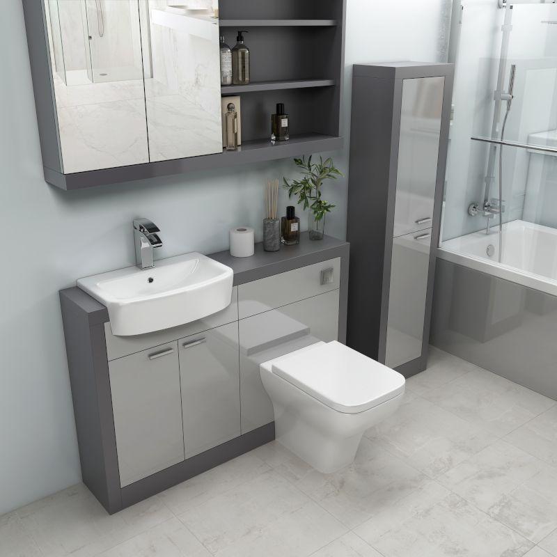 Grove 1200 Combination Vanity Unit Platinum Grey In 2020 Grey