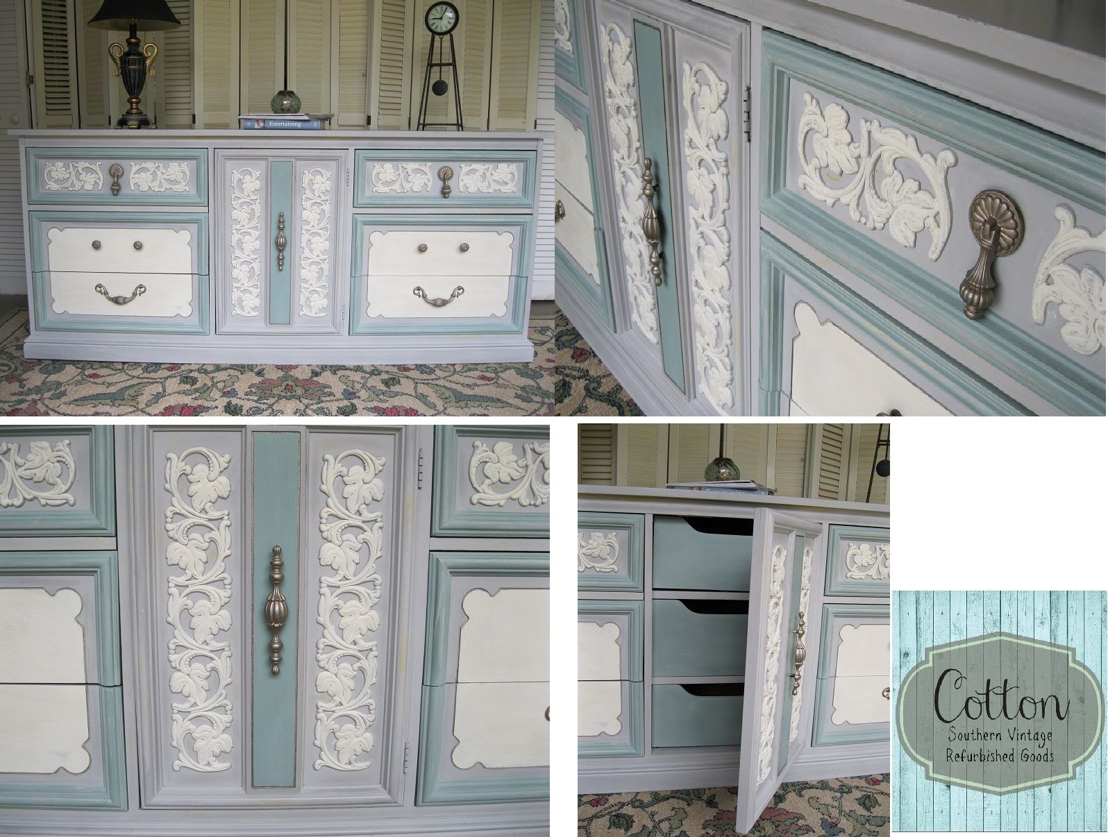 SOLD ~ Dixie Brand Dresser, 9 Drawers, Painted With Annie Sloan Chalk Paint