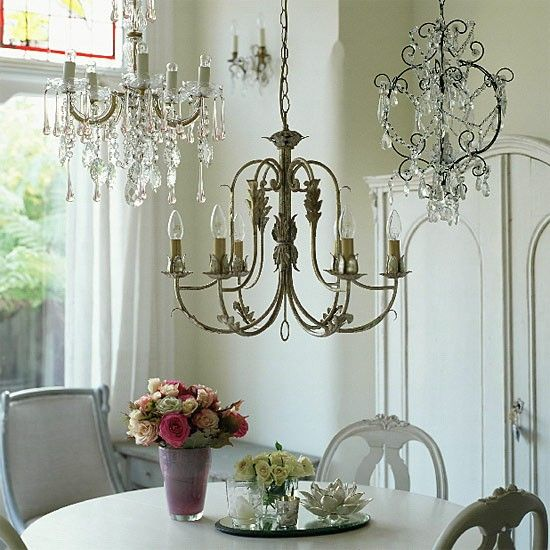 Dining room with painted furniture and chandeliers swedish style dining room with painted furniture and chandeliers mozeypictures Choice Image