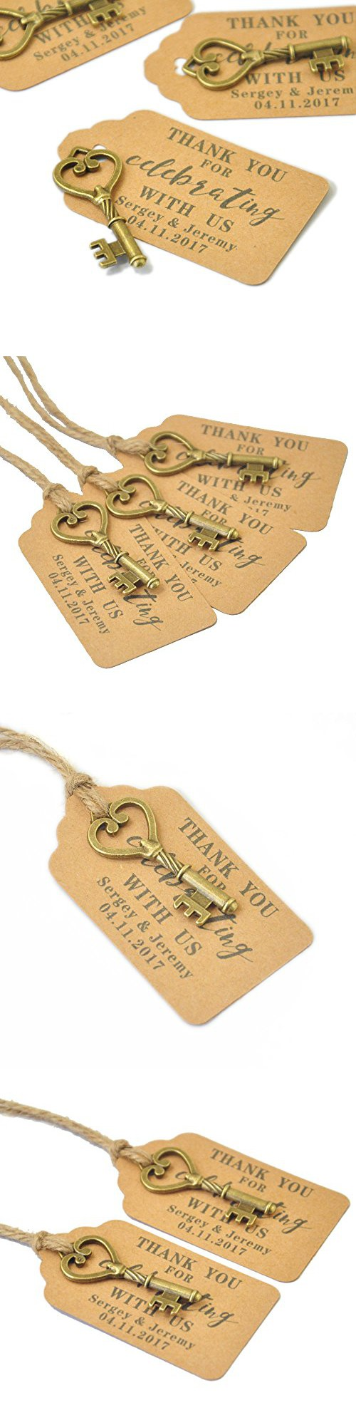 Custom Wedding Tags , Antique Key Gift Tags, Personalized Wedding ...