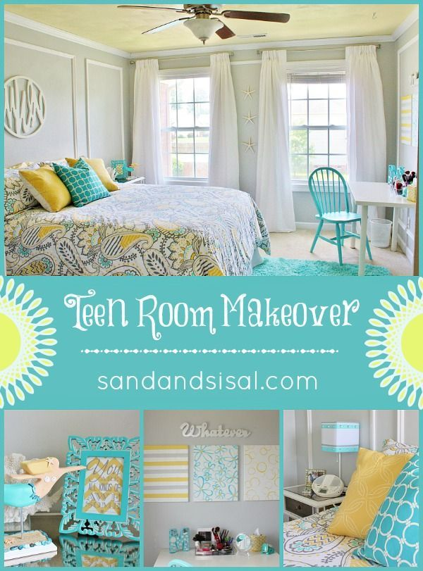 Gray Blue Yellow Bedroom teen room makeover | teen room makeover, yellow turquoise and grey
