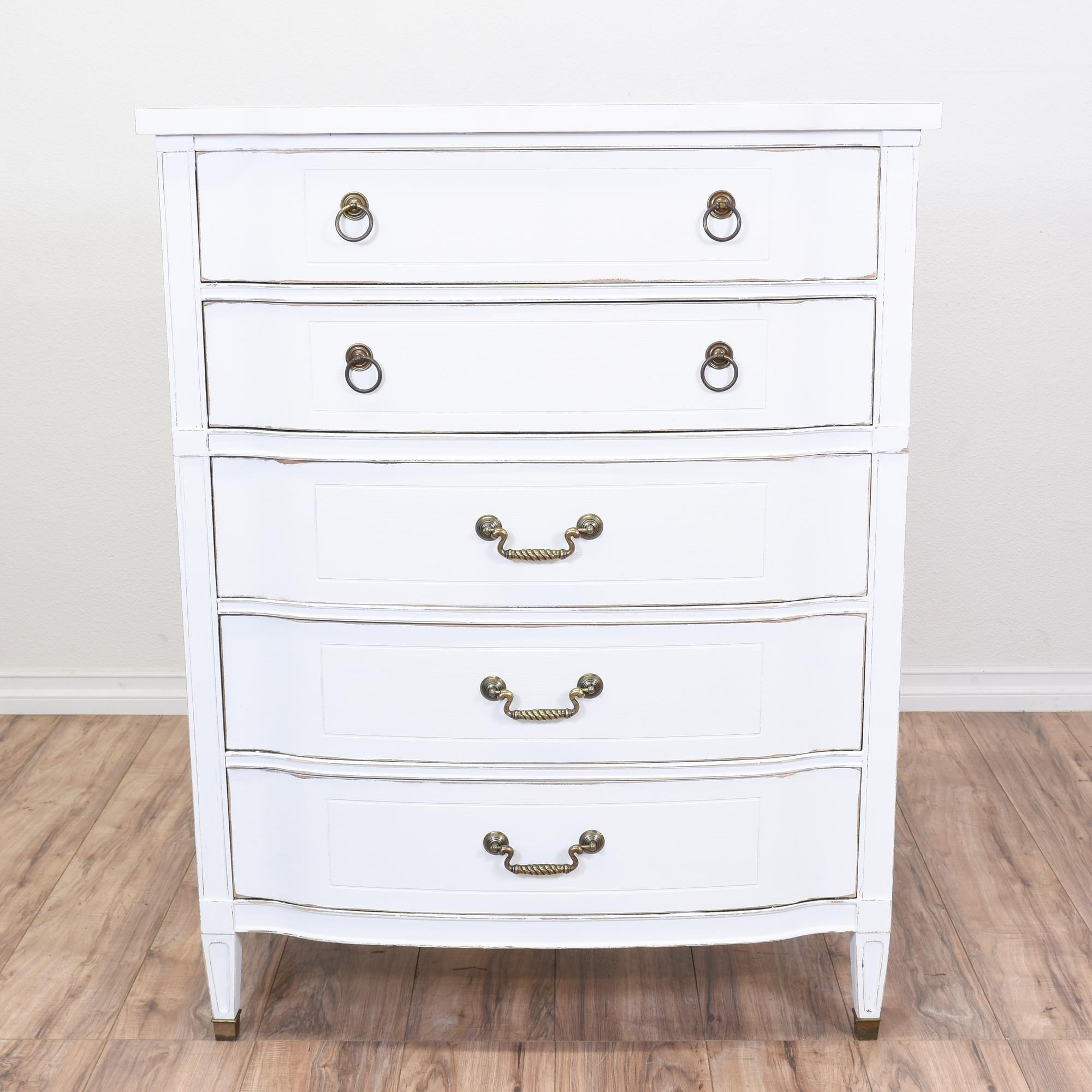 Shabby Chic 5 Drawer Highboy Dresser