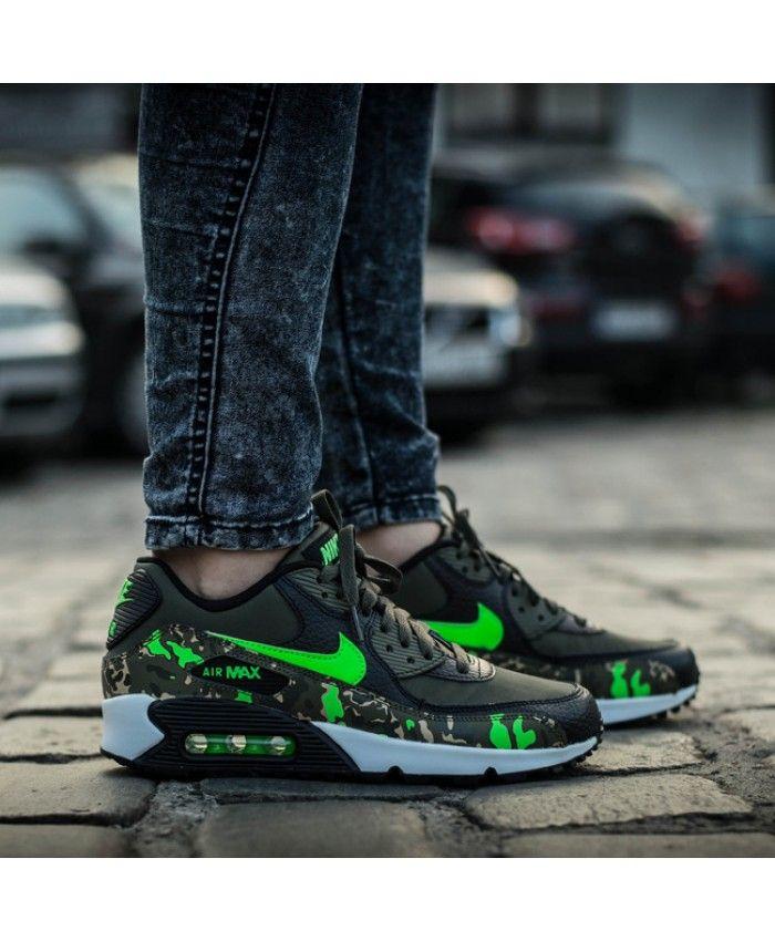 Chaussure Nike Air Max 90 Premium Leather GS Camo Vert | Nike air ...