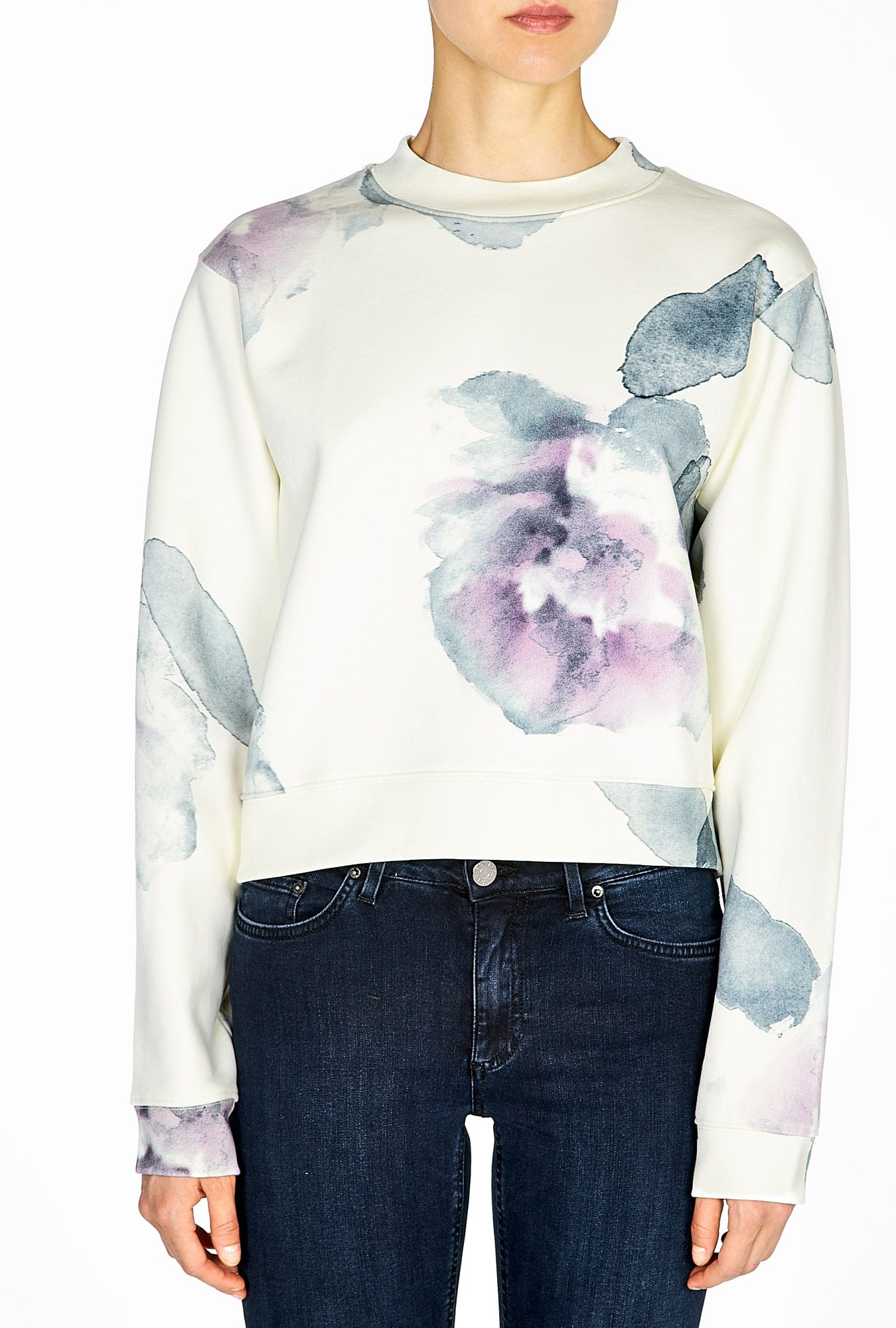 LOVE!!! Flower Print Cropped Sweatshirt by Acne