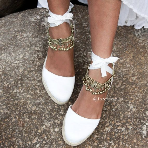 Bridal Shoes Boho: Bridal Espadrille Wedge, Ivory And Satin, Designer Bridal