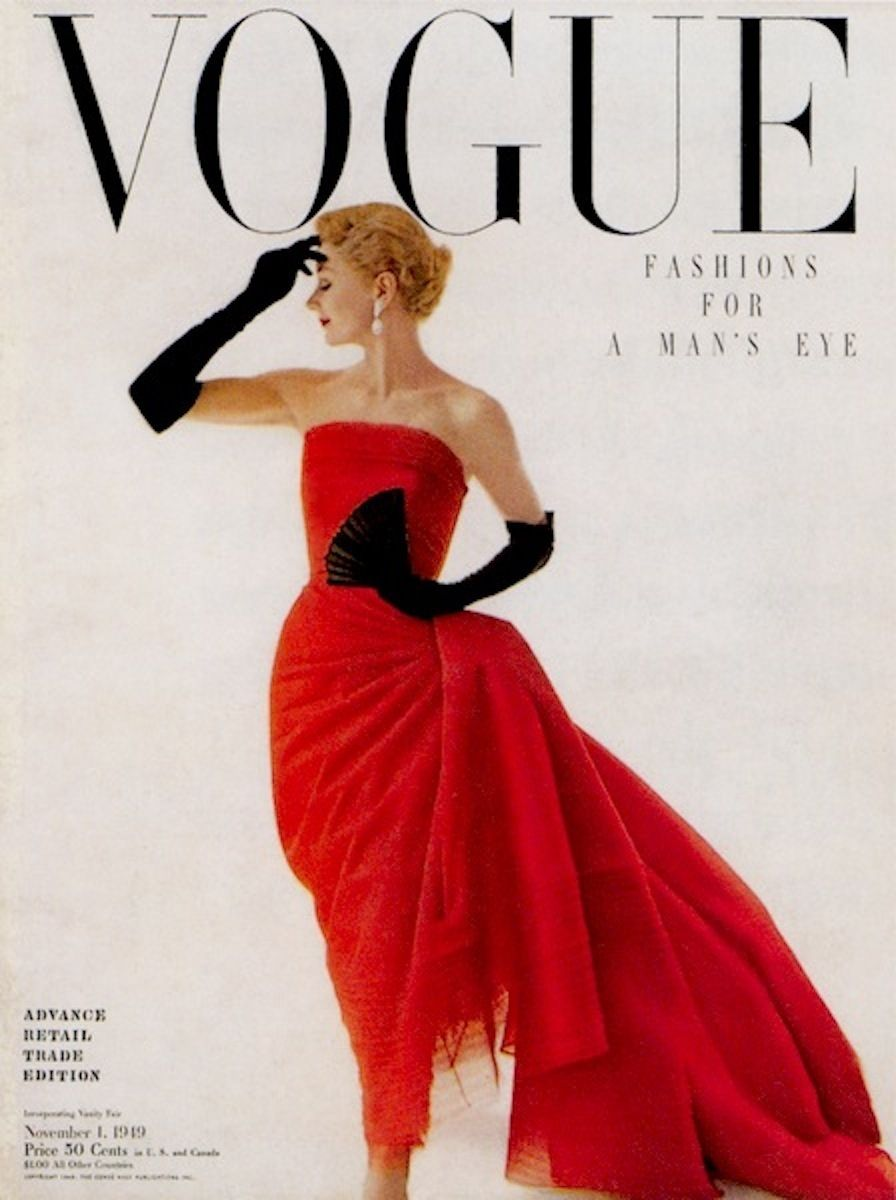Black gloves for gown - Lisa Fonssagrives Vogue Cover November 1 1949 Red Evening Gown With Black Gloves Fan