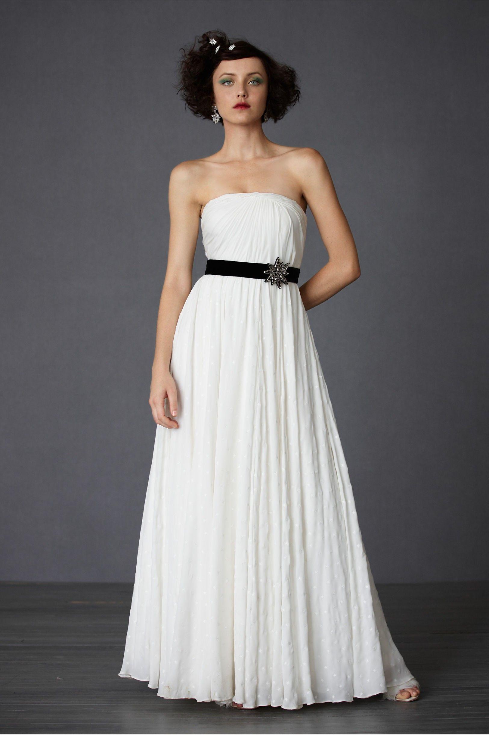 Cotton strapless back zip draped bodice wedding dress
