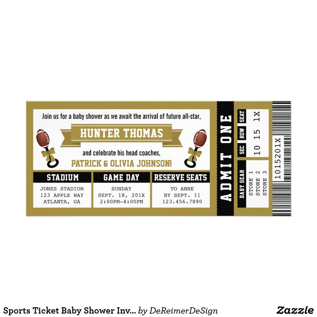Sports Ticket Baby Shower Invitation Black Gold Kick Off The Celebration As You Await Arrival Of A Future Little All Star With This