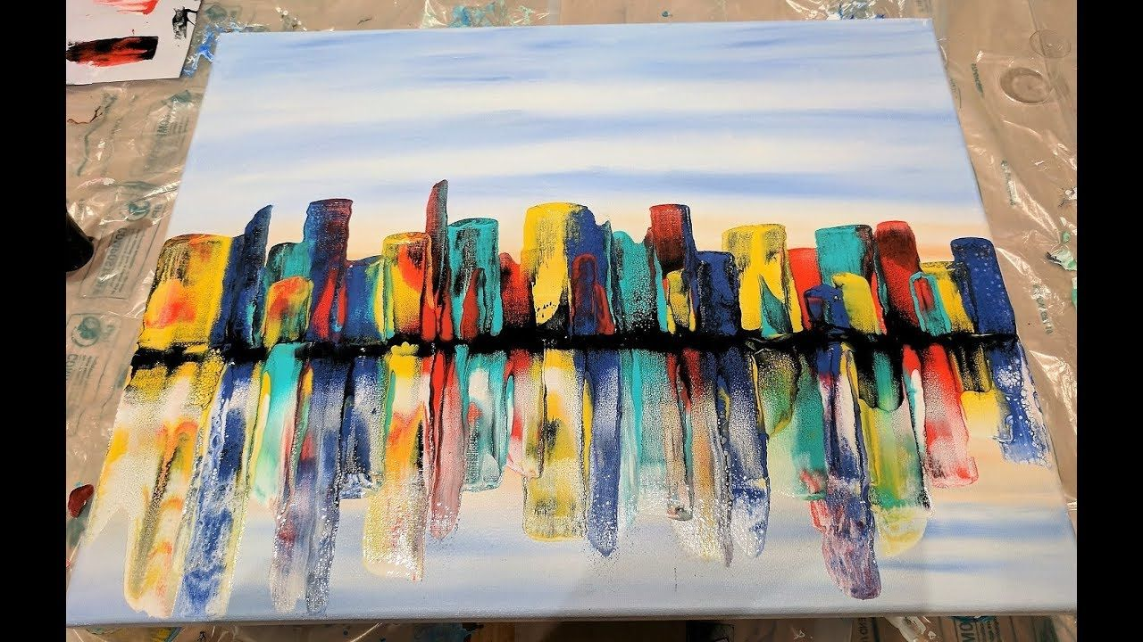 Acrylic Pouring Swipe Technique Colorful City Skyline