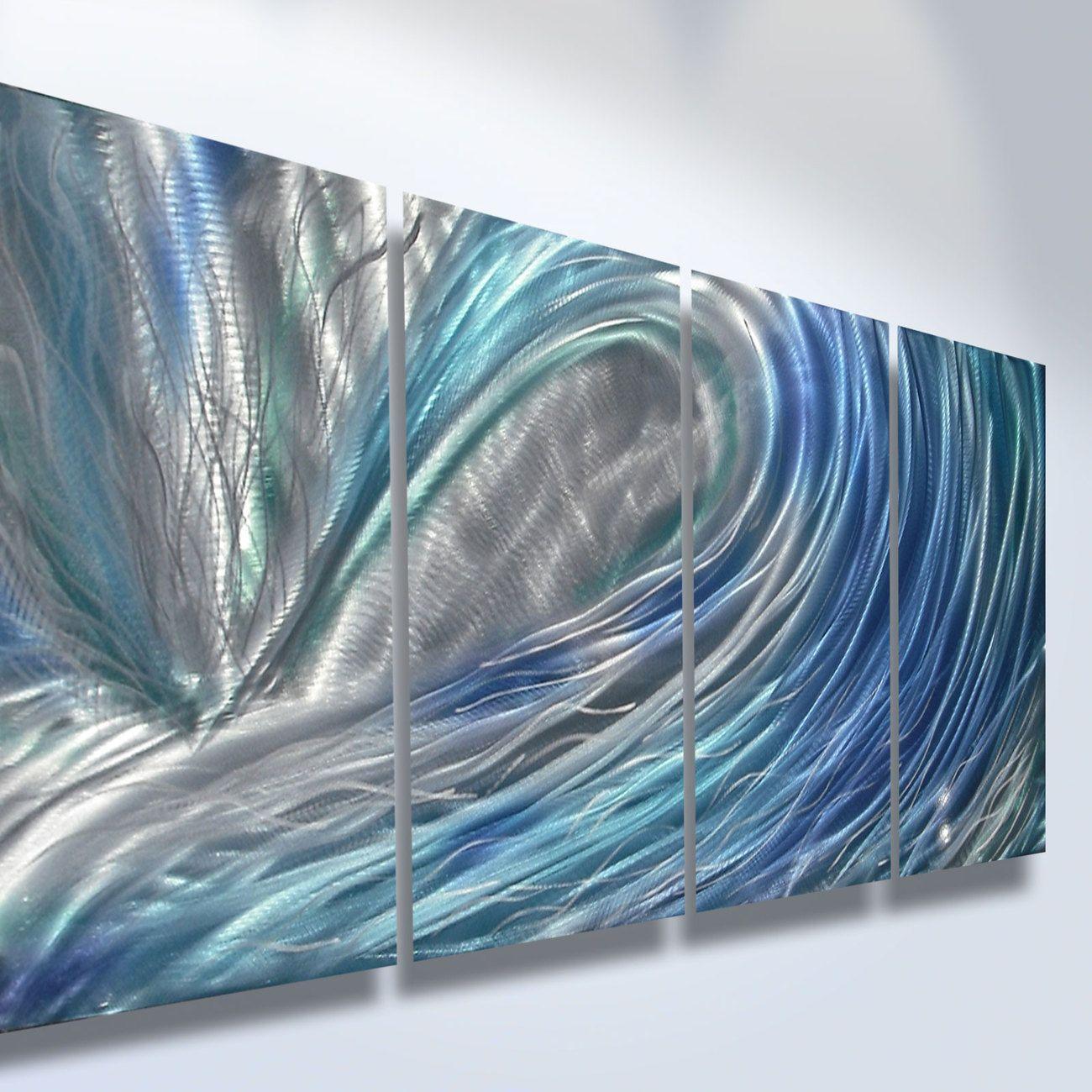 Metal Wall Art Abstract Decor Sculpture Painting Modern Water Wave Blue