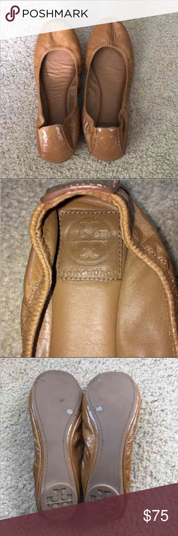 Tory burch flats In good condition, no major wear. Authentic. Tory burch sign on the back. Women's size 8. Light brown gloss. Tory Burch Shoes Flats & Loafers
