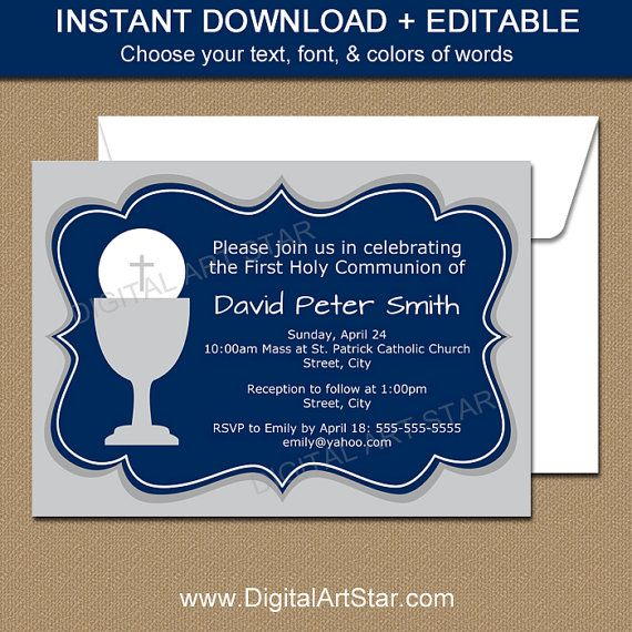 First Communion Invitations for Boy - Navy Blue and Gray Communion - invitation templates holy communion