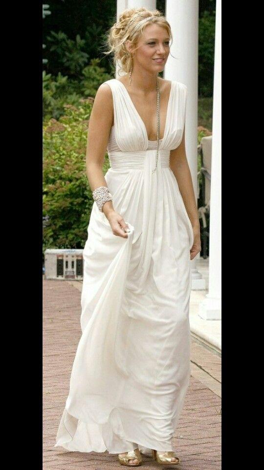 blake lively vestido blanco estilo griego.. | vestidos novia | blake