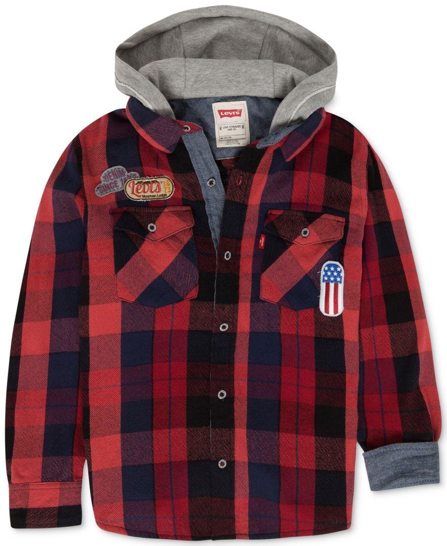 Levi's Boys' Hooded Plaid Shirt