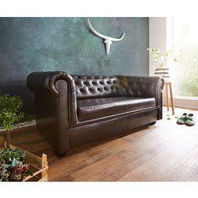 DELIFE Sofa Chesterfield 160x90 cm Braun Abgesteppt 2-Sitzer