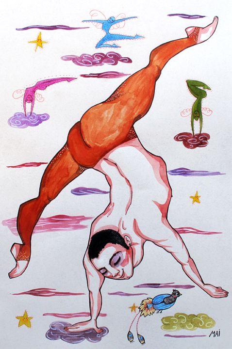 Ilustración personalizada para Angel, acróbata de circo. Técnica mixta. Tamaño…