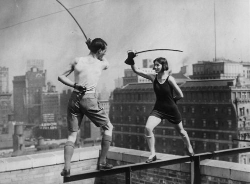 Star and Isabelle Jones do some skyscraper fencing c.1925