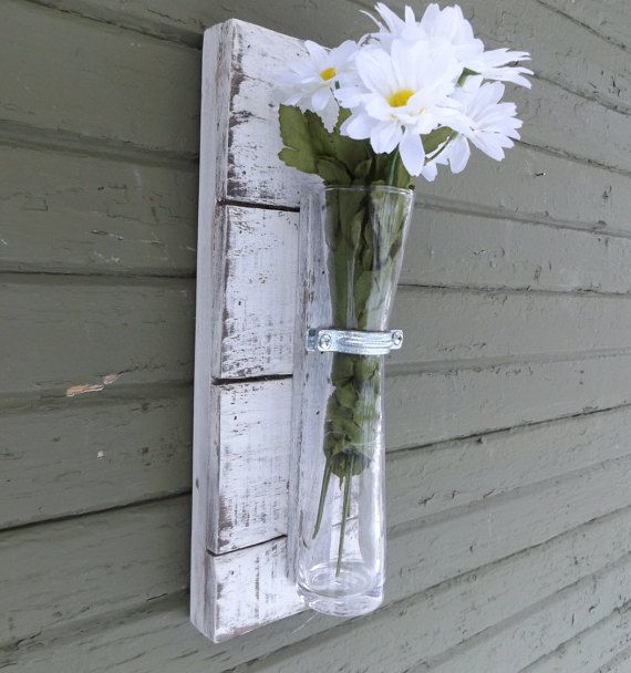 Rustic Wall Sconce Wood Wall Sconce Vase Sconce White Wall Sconce