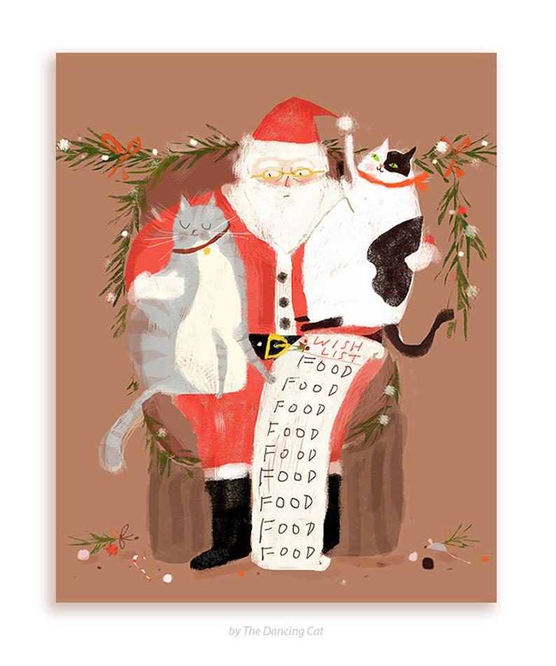 Funny Christmas Card All I Want For Christmas Is Food Etsy In 2020 Christmas Cats Christmas Illustration Cat Cards
